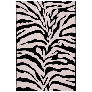 Rubber Back Black and Snow White Zebra Print Non-Slip Area Rug (5' x 6'6)