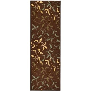 Rubber Back Chocolate Brown Floral Garden Non-Slip Long Runner Rug (2'8 x 9'10)