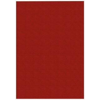 """Solid Red Rubber Back Non-Slip Door Mat Rug (1'6 x 2'6) - 1'6"""" x 2'6"""""""