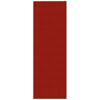 Solid Red Rubber Back Non-Slip Runner Rug (1'10 x 6'9)