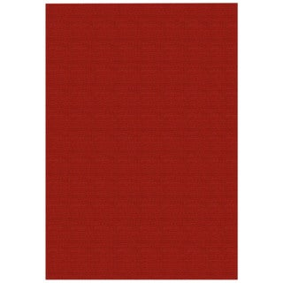 Solid Red Rubber Back Non-Slip Area Rug (5' x 6'6) - 5' x 6'6