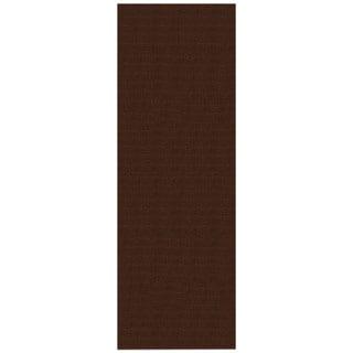 Solid Brown Rubber Back Non-Slip Long Runner Rug (2'8 x 9'10)