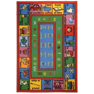 Kids Educational English Spanish Numbers and Words Area Rug (4'5 x 6')