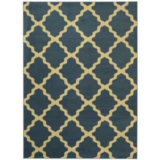Maxy Home Moroccan Trellis Ocean Blue and Ivory Area Rug (7'11 x 9'10)