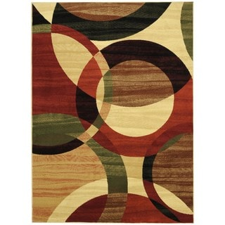 Maxy Home Contemporary Multicolor Circles Area Rug (5'3 x 7'3)