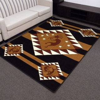 TajMahal Kokopelli-2 Black Area Rug (5' x 7')