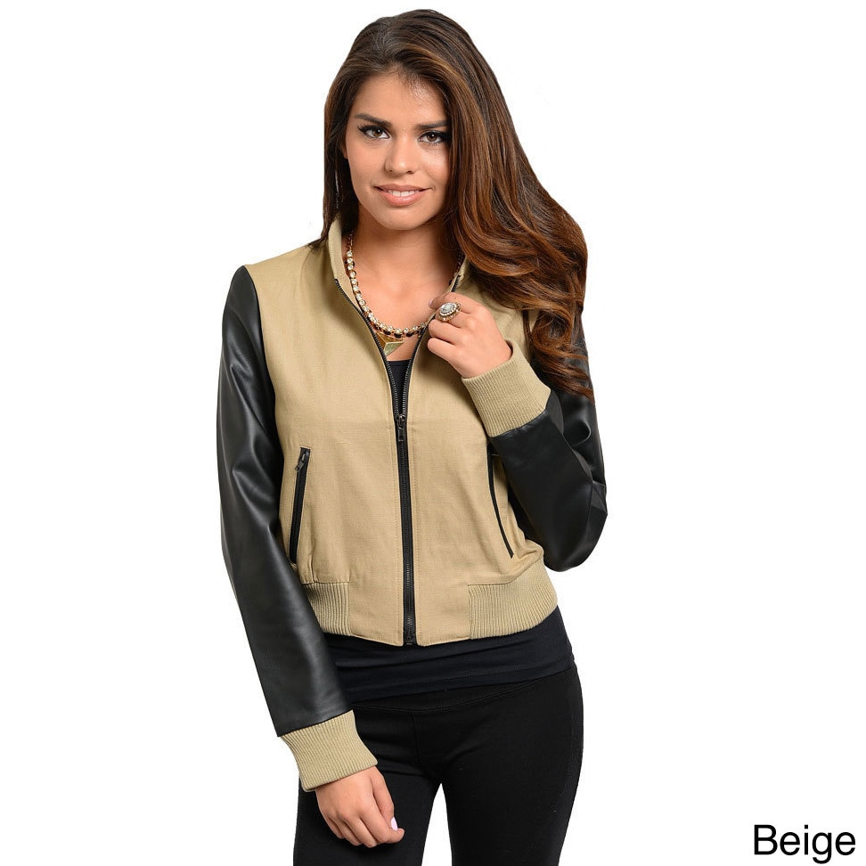 Overstock.com Stanzino Women's PU Sleeve Zip-up Bomber Jacket at Sears.com