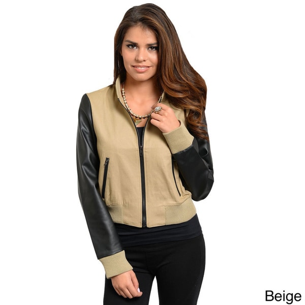 Stanzino Women's PU Sleeve Zip-up Bomber Jacket