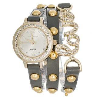 Via Nova Women's Platinum Rhinestone Accent Love Grey Wrap Watch