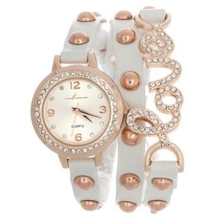 Via Nova Women's Rhinestone Accent Love Wrap Rose Goldtone White Leather Watch