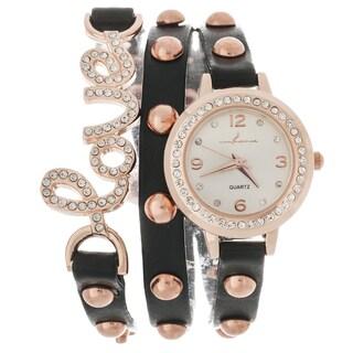 Via Nova Women's Platinum Rhinestone Love Wrap Black Studded Watch