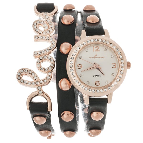 Via Nova Women's Platinum Rhinestone Love Wrap Black Studded Watch