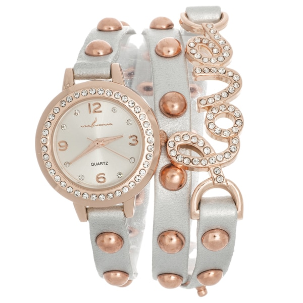 Via Nova Women's Rhinestone Accent 'Love' Wrap Rose Goldtone White Leather Watch