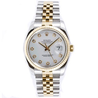 Pre-owned Rolex Men's Datejust Steel and 18k Gold Jubilee Band White Diamond Dial Watch