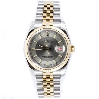 Pre-owned Rolex Men's Datejust Steel and 18k Gold Jubilee Band Silver Tuxedo Stick Dial Watch