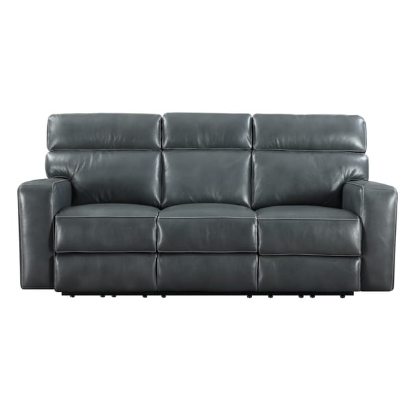 Emerald blue leather match power dual reclining sofa for Blue leather reclining sofa