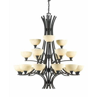 Luxor 21-light Chandelier with Hand Painted Scavo glass