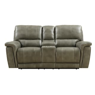 Emerald Grey/ Taupe Leather Match Power Dual Reclining Loveseat with Console