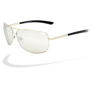 Piranha Mens 'Gauge' Shiny Silver Frame Aviator Sunglasses