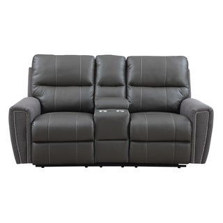 Emerald Grey Leather and Microfiber Power Dual Reclining Loveseat with Console