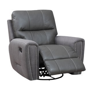 Emerald Grey Leather and Microfiber Swivel Glider Recliner