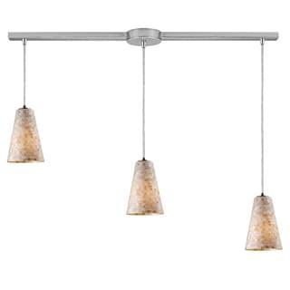 Elk Lighting Capri 3-light Cappa Shell Satin Nickel Pendant