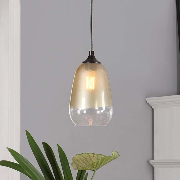 1 Light Gold Dipped Glass Shade Pendant 16476918