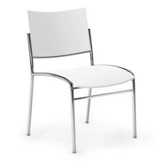 Mayline Escalate White Stacking Chairs (Pack of 4)