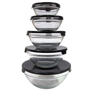 Nesting Glass Bowl 5-piece Set with Black Lids (Pack of 2)
