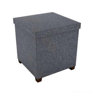 Square 17-inch Storage Ottoman with Wooden Feet