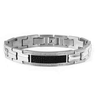 Men's Two-tone Stainless Steel 1/5ct TDW Diamond ID Bracelet