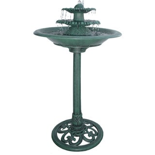 Alpine Corporation Green 3-Tiered Fountain and Bird Bath