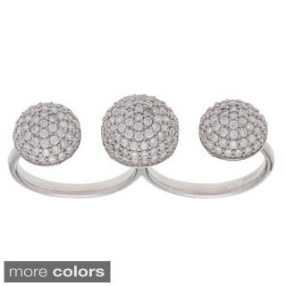 Sterling Silver Cubic Zirconia Double Finger Pave Ring