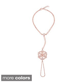Sterling Silver Cubic Zirconia Flower Pendant Hand Harness Bracelet
