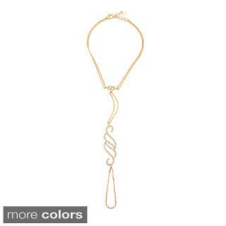 Sterling Silver Cubic Zirconia Swirl Pendant Hand Harness Bracelet