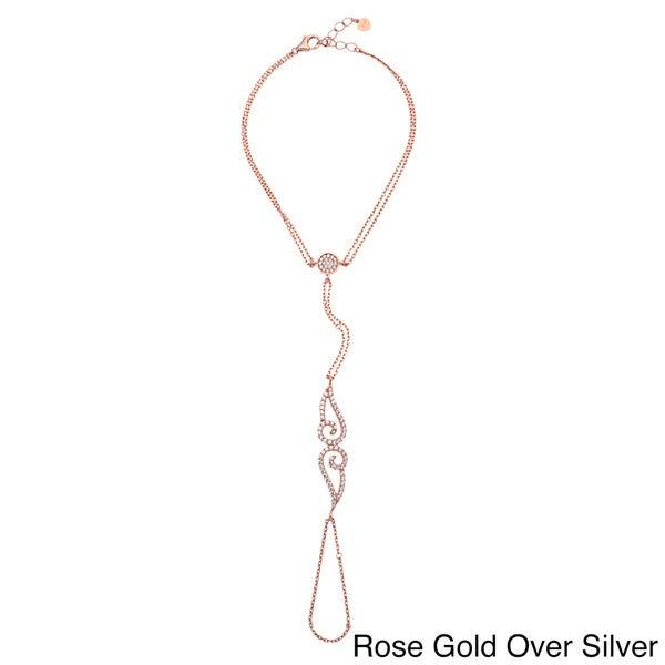 Sterling Silver Double Swirl Pendant Hand Harness Bracelet