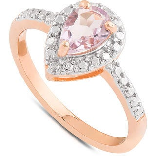 Dolce Giavonna Gold Over Sterling Silver Amethyst and Diamond Accent Teardrop Solitaire Ring