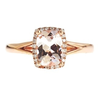 D'yach 14k Rose Gold Cushion-cut Morganite and Diamond Ring