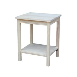 Unfinished Solid Parawood Portman Accent Table