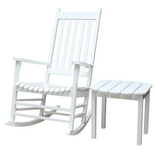 White 2-piece Porch Rocker/ Side Table Set