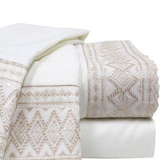 Lace Hem 4-piece Ivory Sheet Set