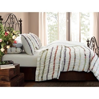 Greenland Home Fashions Bella Ruffle Button Closure Cotton 3-piece Duvet Cover Set