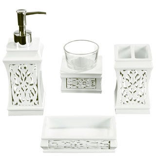 Brocade Mirror Bath Accessory 4-piece Set