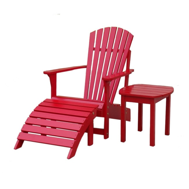 Overstock.com Red 3-piece Adirondack Chair Set at Sears.com