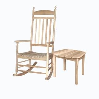 Unfinished 2-piece Porch Rocker/ Side Table Set