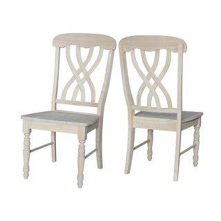 Unfinished Solid Parawood Latticeback Dining Chairs (Set of 2)