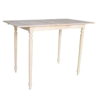 32-inch Wide Unfinished Turned Style Parawood Bar Height Dining Table with Butterfly Extension