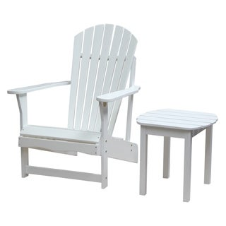 White 2-piece Adirondack Chair/ Side Table Set