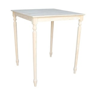 Unfinished Bar Height Square Turned-leg Parawood Dining Table