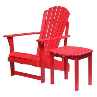 Red 2-piece Adirondack Chair/ Side Table Set